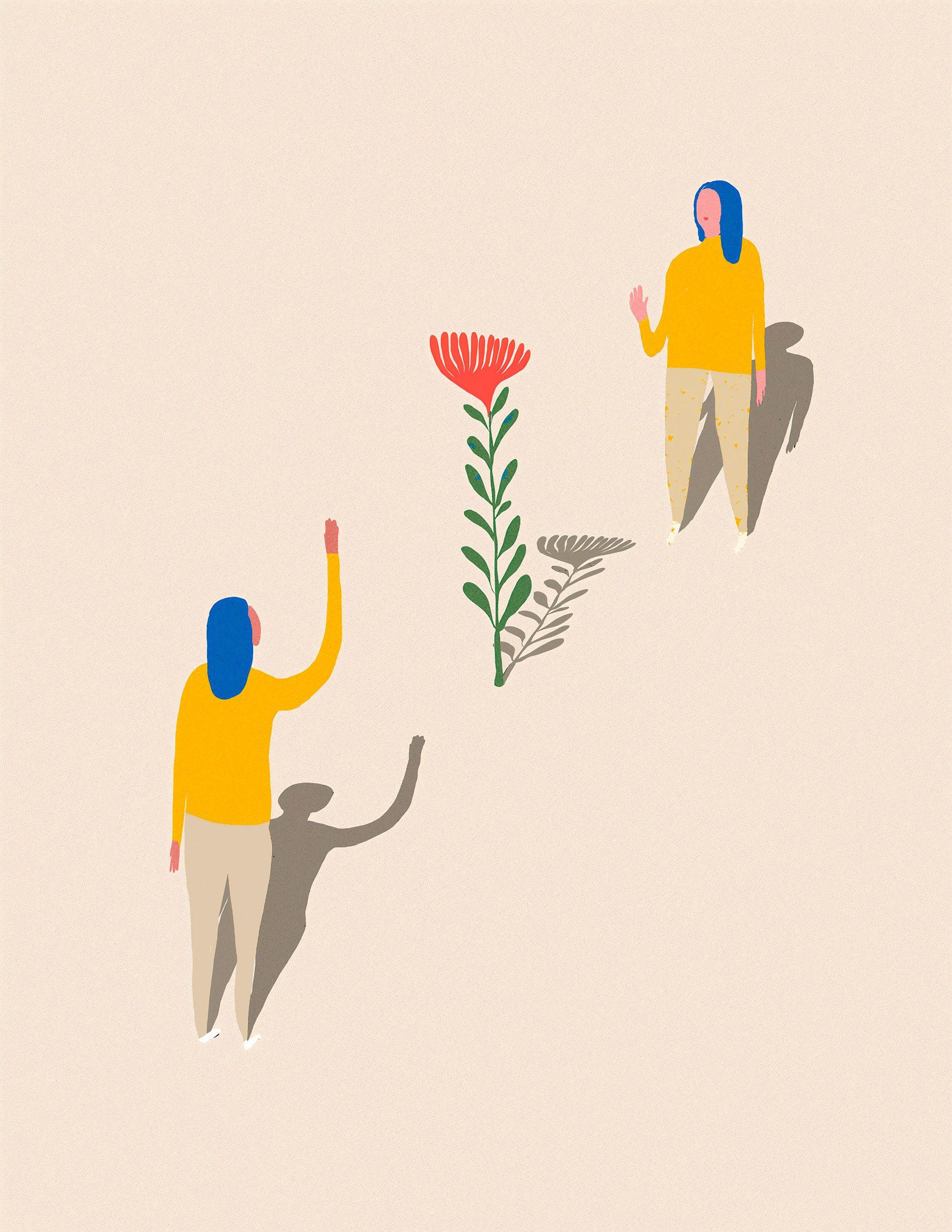 Um retrato sobre pandemia e solidariedade: ilustração de duas pessoas e uma flor no meio