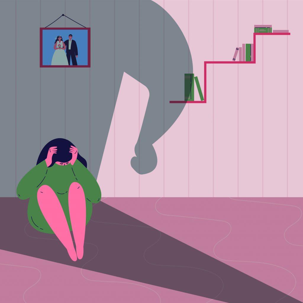 ilustração de uma mulher oprimida; sobre bater em mulher e os recortes da imprensa ao longo das décasa